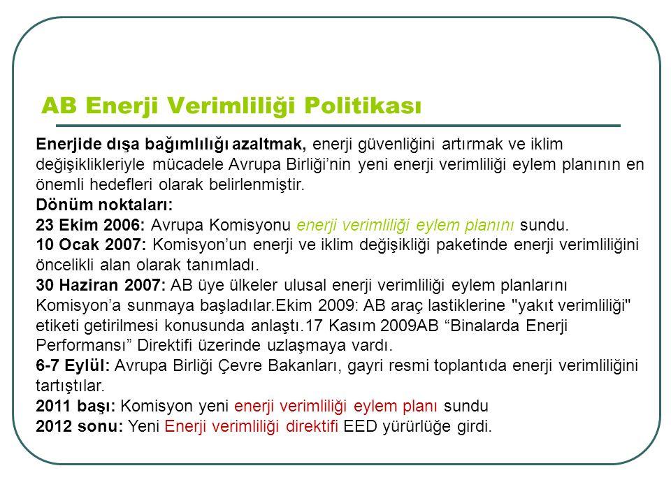 AB Enerji Verimliliği Politikası Enerjide dışa bağımlılığı azaltmak, enerji güvenliğini artırmak ve iklim değişiklikleriyle mücadele Avrupa Birliği'nin yeni enerji verimliliği eylem planının en önemli hedefleri olarak belirlenmiştir.