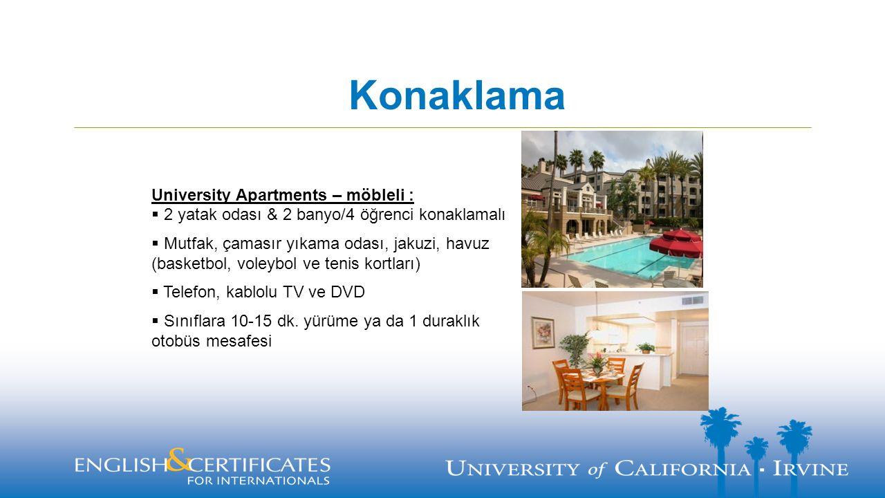 Konaklama University Apartments – möbleli :  2 yatak odası & 2 banyo/4 öğrenci konaklamalı  Mutfak, çamasır yıkama odası, jakuzi, havuz (basketbol,