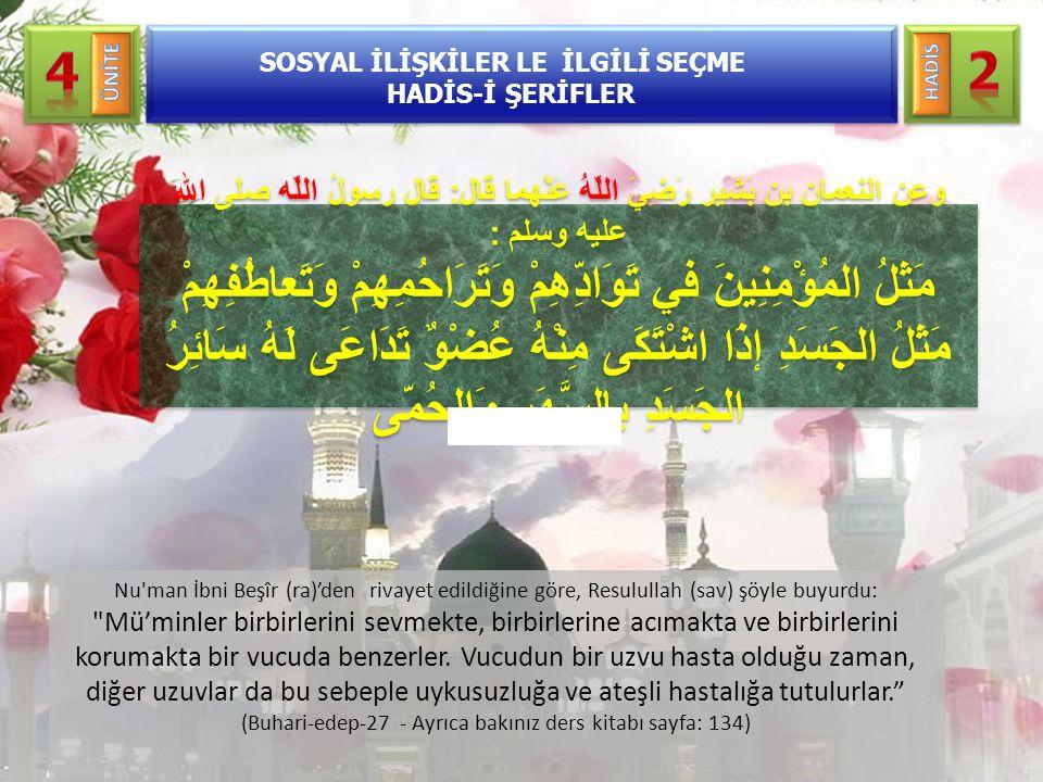 Nu'man İbni Beşîr (ra)'den rivayet edildiğine göre, Resulullah (sav) şöyle buyurdu: