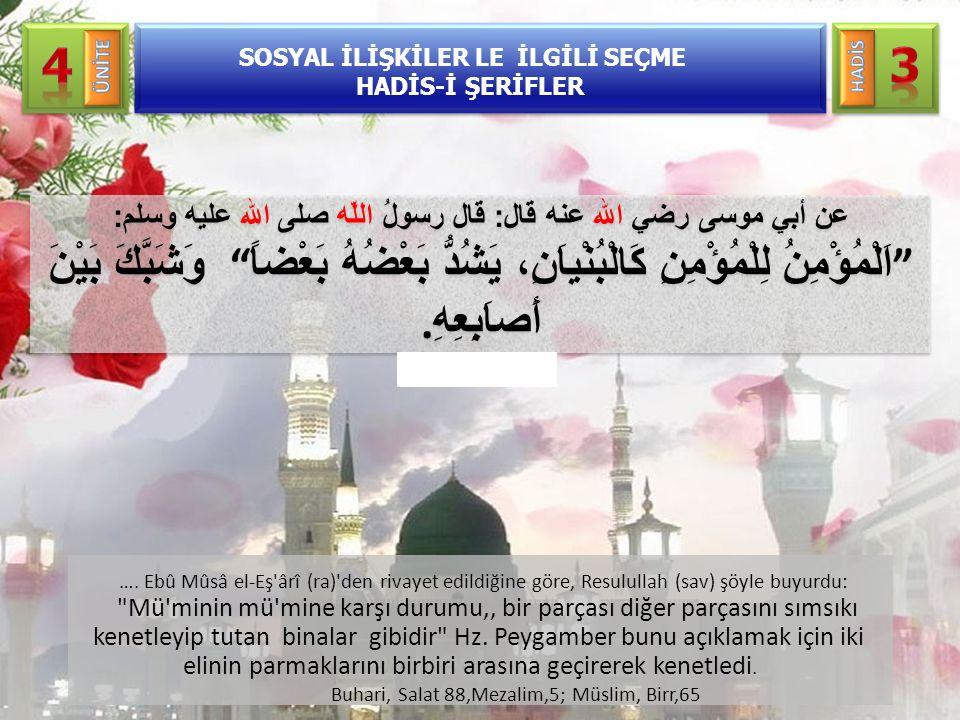 …. Ebû Mûsâ el-Eş'ârî (ra)'den rivayet edildiğine göre, Resulullah (sav) şöyle buyurdu: