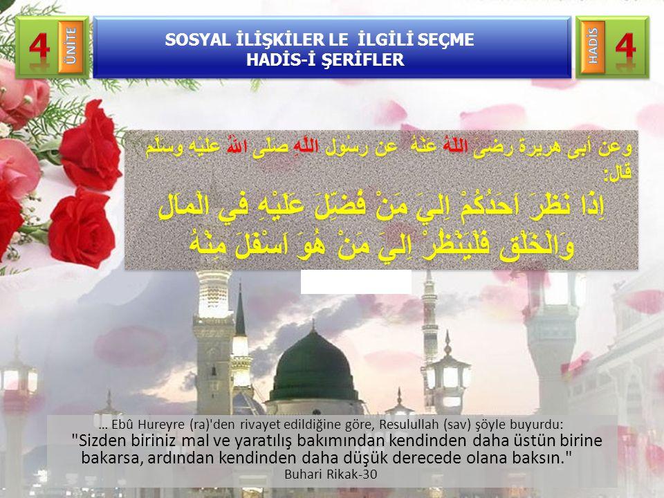 … Ebû Hureyre (ra)'den rivayet edildiğine göre, Resulullah (sav) şöyle buyurdu:
