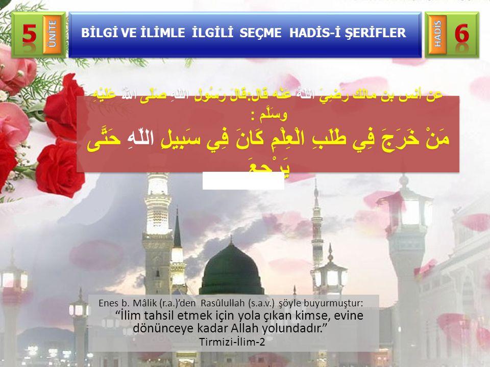 """Enes b. Mâlik (r.a.)'den Rasûlullah (s.a.v.) şöyle buyurmuştur: """"İlim tahsil etmek için yola çıkan kimse, evine dönünceye kadar Allah yolundadır."""" Tir"""