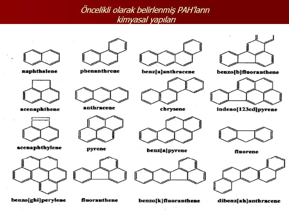 Öncelikli olarak belirlenmiş PAH'ların kimyasal yapıları