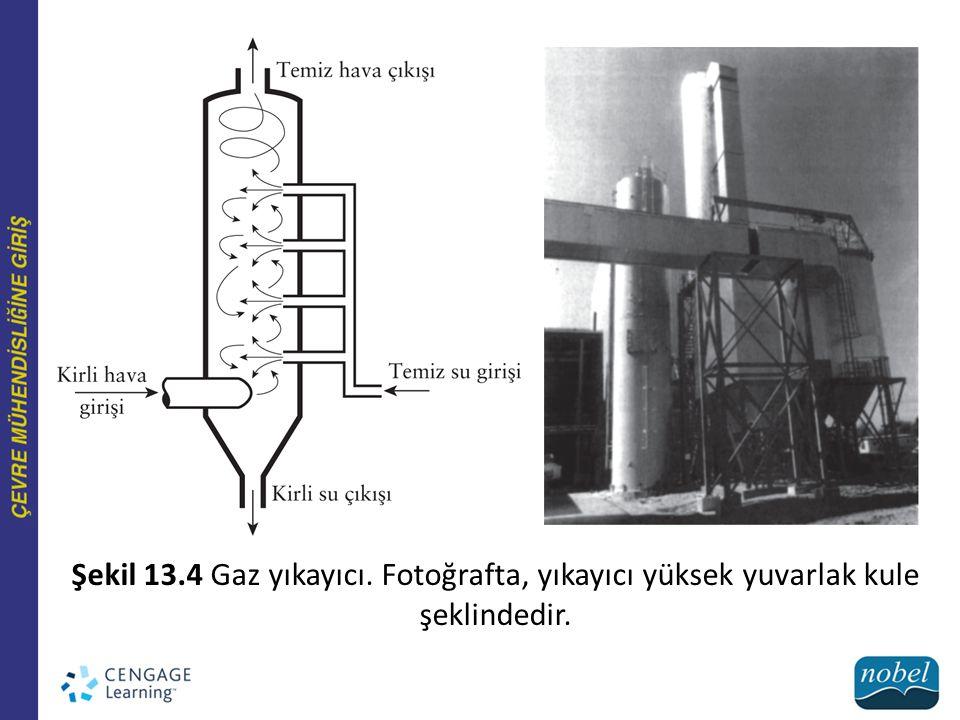 Şekil 13.4 Gaz yıkayıcı. Fotoğrafta, yıkayıcı yüksek yuvarlak kule şeklindedir.