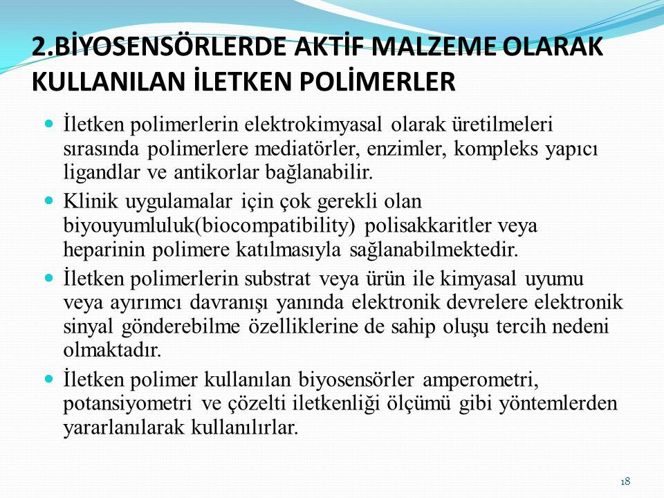2.BİYOSENSÖRLERDE AKTİF MALZEME OLARAK KULLANILAN İLETKEN POLİMERLER İletken polimerlerin elektrokimyasal olarak üretilmeleri sırasında polimerlere me