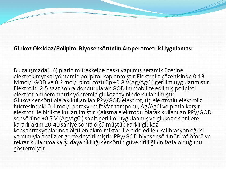 Glukoz Oksidaz/Polipirol Biyosensörünün Amperometrik Uygulaması Bu çalışmada(16) platin mürekkelpe baskı yapılmış seramik üzerine elektrokimyasal yönt