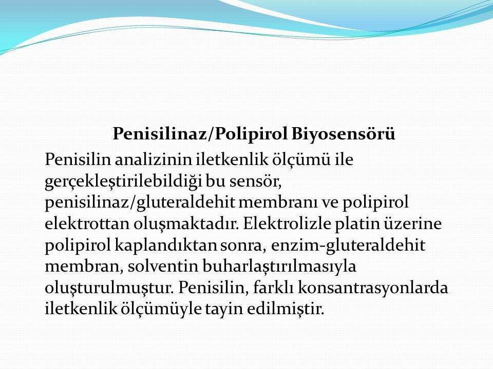 Penisilinaz/Polipirol Biyosensörü Penisilin analizinin iletkenlik ölçümü ile gerçekleştirilebildiği bu sensör, penisilinaz/gluteraldehit membranı ve p