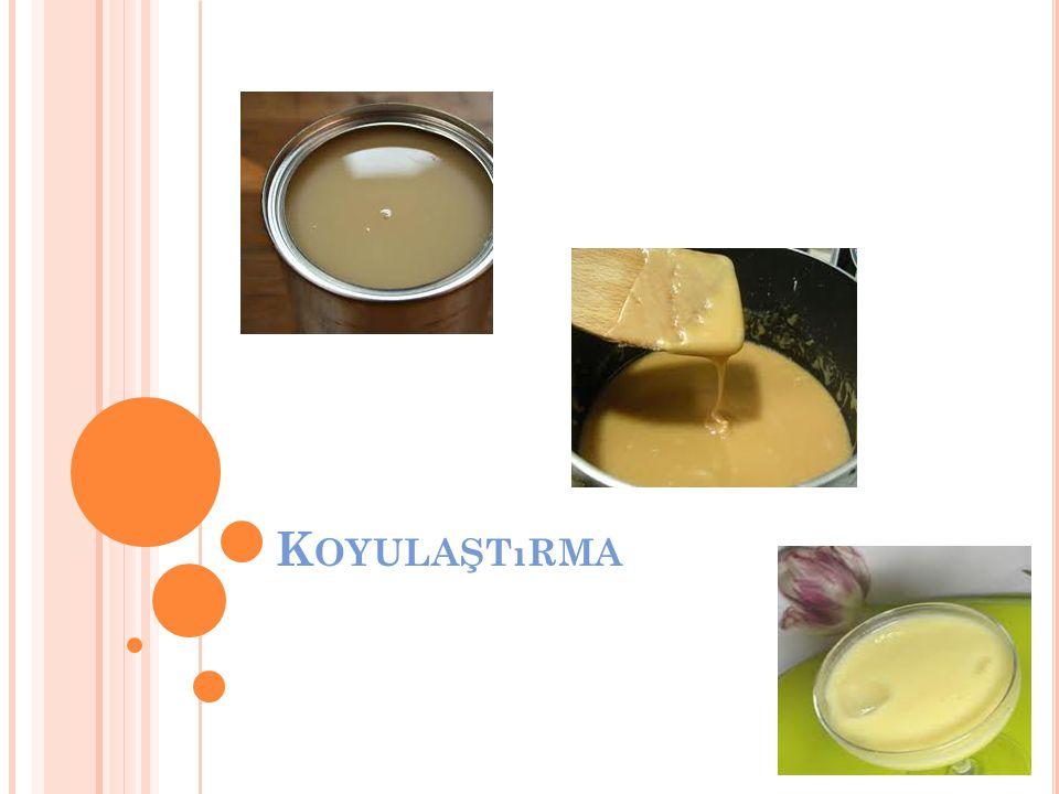 Koyulaştırma Yağlı veya yağsız sütün hacminin bir bölümünün (% 30-50) buharlaştırılmasıyla elde edilen koyulaştırılmış şekerli veya şekersiz süt ürününe kondens süt (evapore süt) denilmektedir.
