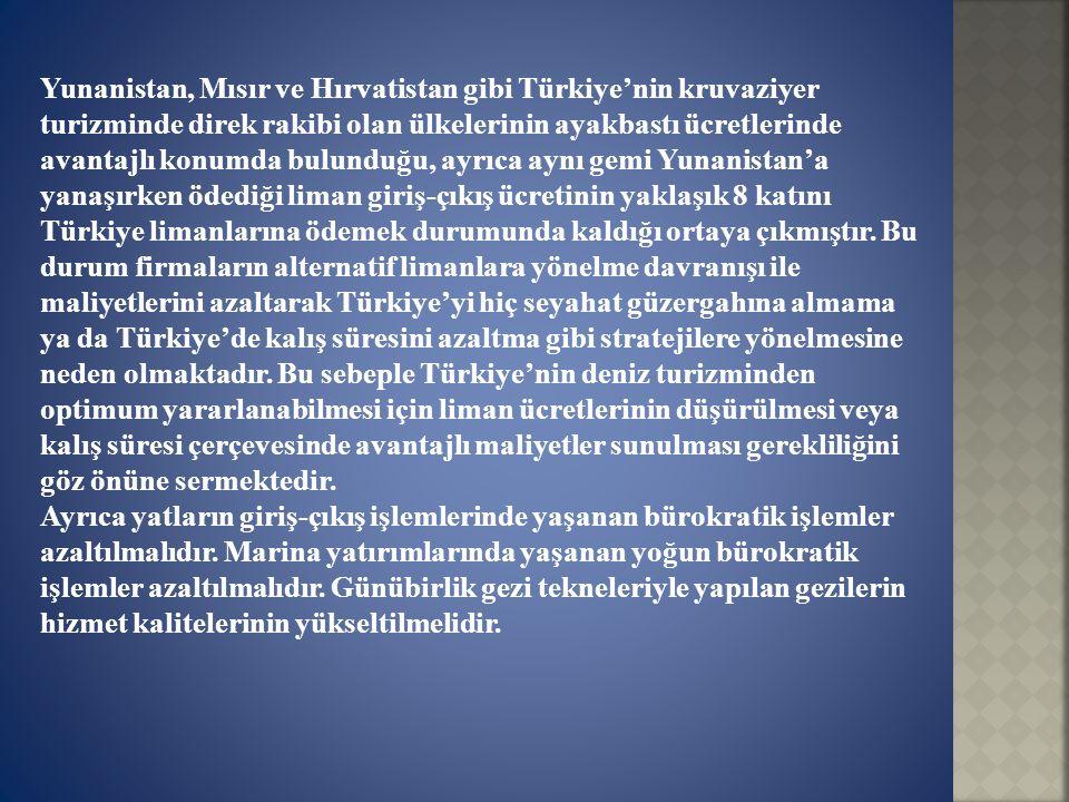 Yunanistan, Mısır ve Hırvatistan gibi Türkiye'nin kruvaziyer turizminde direk rakibi olan ülkelerinin ayakbastı ücretlerinde avantajlı konumda bulundu