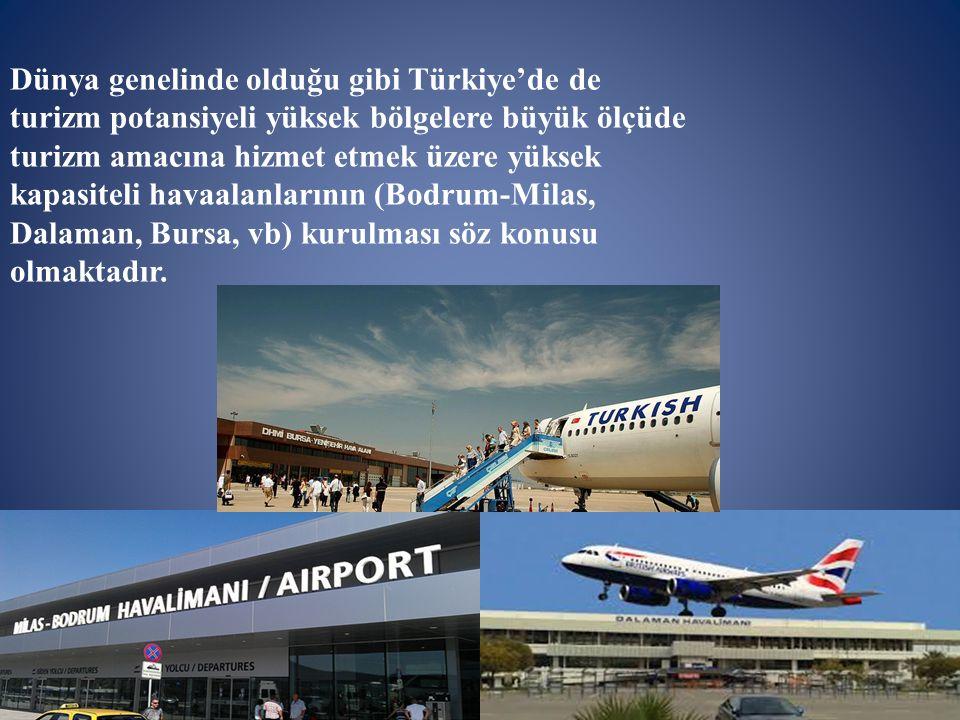 Dünya genelinde olduğu gibi Türkiye'de de turizm potansiyeli yüksek bölgelere büyük ölçüde turizm amacına hizmet etmek üzere yüksek kapasiteli havaala