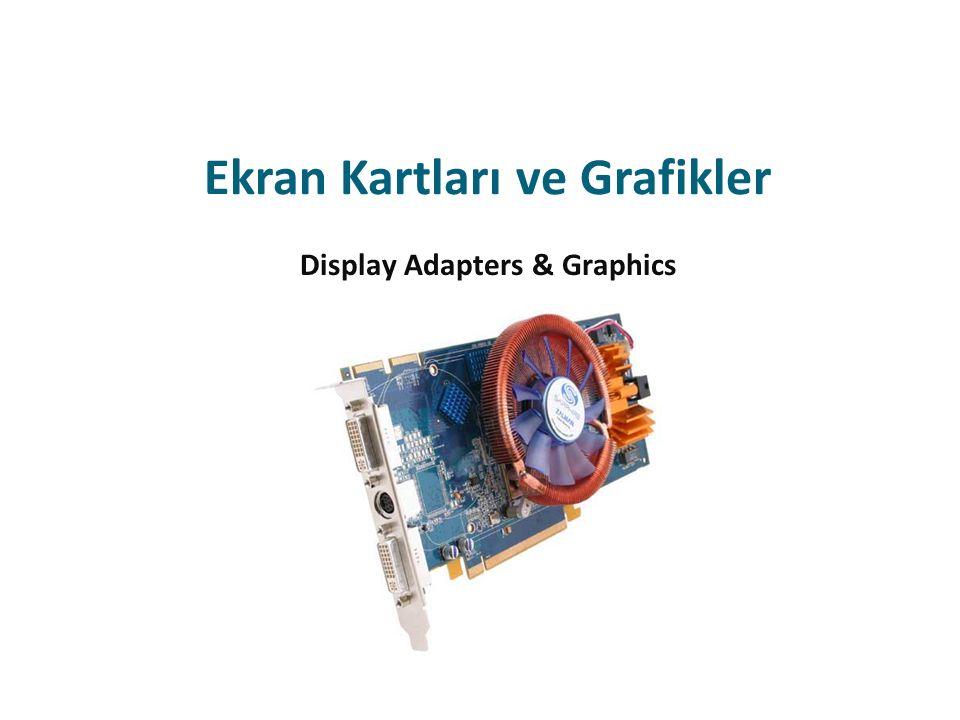 Bilgisayar Grafiği Kavramı Grafik terimi PC nin birçok parçası arasındaki karmaşık bir etkileşimi içerisinde barındırır Monitör veya ekran, işletim sistemimiz veya programlarımızda ne tür ilerlemeler olduğunu bize gösterir Ekranlar PC için birincil çıktı aygıtıdır Ekran kartı (veya bağdaştırıcısı) ise CPU ve monitör arasındaki iletişimi yönetir