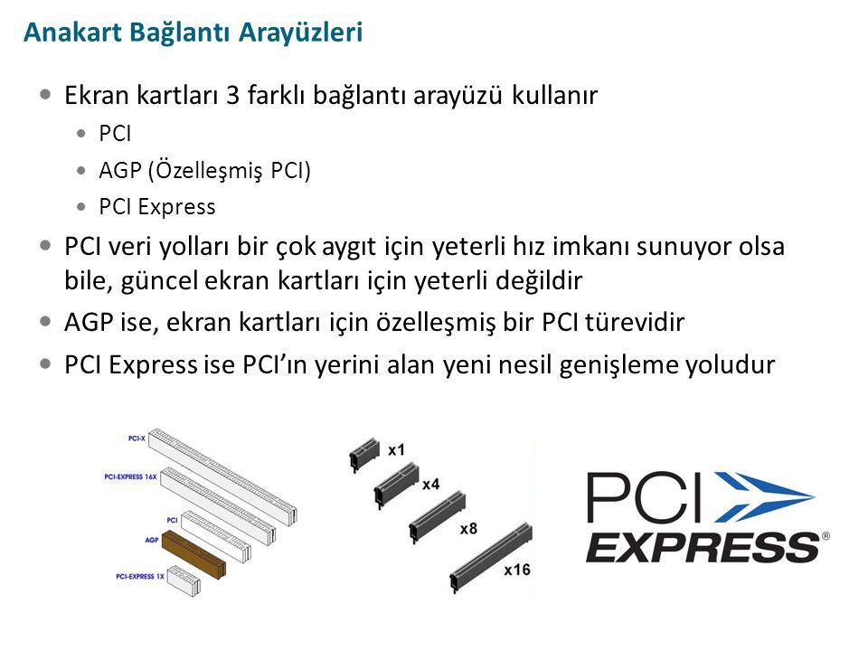 Anakart Bağlantı Arayüzleri Ekran kartları 3 farklı bağlantı arayüzü kullanır PCI AGP (Özelleşmiş PCI) PCI Express PCI veri yolları bir çok aygıt için