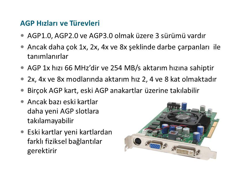 AGP Hızları ve Türevleri AGP1.0, AGP2.0 ve AGP3.0 olmak üzere 3 sürümü vardır Ancak daha çok 1x, 2x, 4x ve 8x şeklinde darbe çarpanları ile tanımlanır