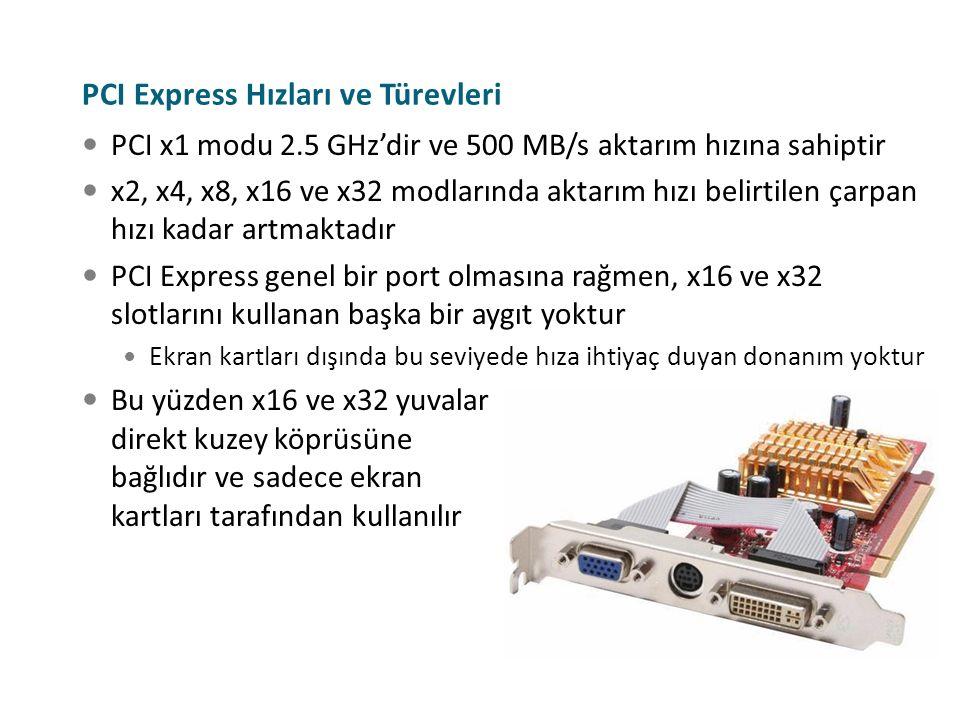 PCI Express Hızları ve Türevleri PCI x1 modu 2.5 GHz'dir ve 500 MB/s aktarım hızına sahiptir x2, x4, x8, x16 ve x32 modlarında aktarım hızı belirtilen