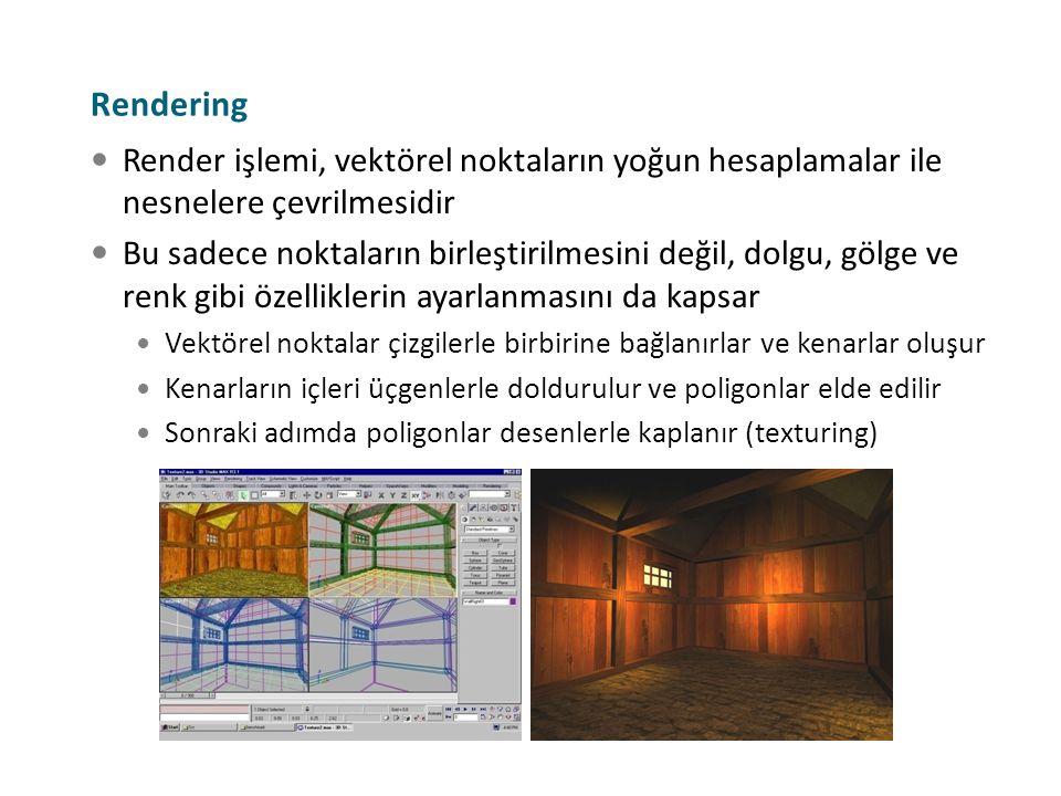 Rendering Render işlemi, vektörel noktaların yoğun hesaplamalar ile nesnelere çevrilmesidir Bu sadece noktaların birleştirilmesini değil, dolgu, gölge