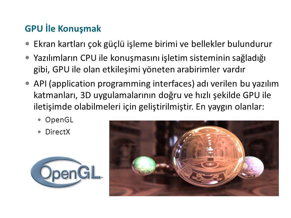 GPU İle Konuşmak Ekran kartları çok güçlü işleme birimi ve bellekler bulundurur Yazılımların CPU ile konuşmasını işletim sisteminin sağladığı gibi, GP