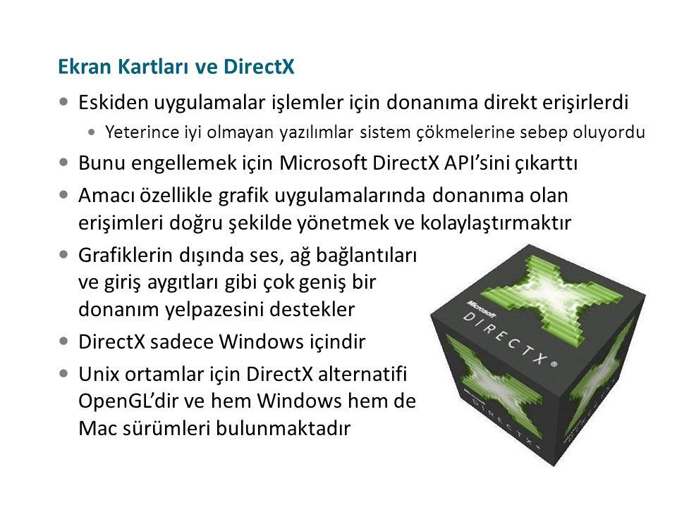 Ekran Kartları ve DirectX Eskiden uygulamalar işlemler için donanıma direkt erişirlerdi Yeterince iyi olmayan yazılımlar sistem çökmelerine sebep oluy
