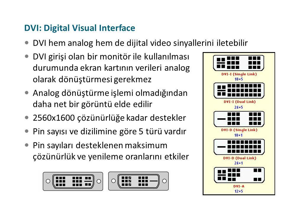 DVI hem analog hem de dijital video sinyallerini iletebilir DVI girişi olan bir monitör ile kullanılması durumunda ekran kartının verileri analog olar