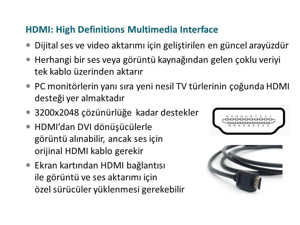 Dijital ses ve video aktarımı için geliştirilen en güncel arayüzdür Herhangi bir ses veya görüntü kaynağından gelen çoklu veriyi tek kablo üzerinden a