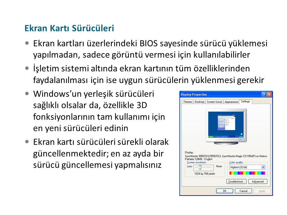 Ekran kartları üzerlerindeki BIOS sayesinde sürücü yüklemesi yapılmadan, sadece görüntü vermesi için kullanılabilirler İşletim sistemi altında ekran k