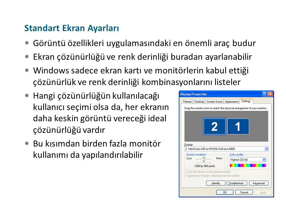 Görüntü özellikleri uygulamasındaki en önemli araç budur Ekran çözünürlüğü ve renk derinliği buradan ayarlanabilir Windows sadece ekran kartı ve monit
