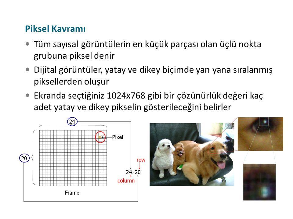 Tüm sayısal görüntülerin en küçük parçası olan üçlü nokta grubuna piksel denir Dijital görüntüler, yatay ve dikey biçimde yan yana sıralanmış pikselle