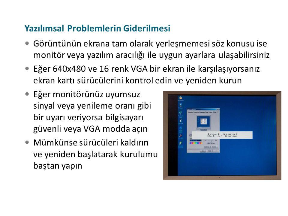 Yazılımsal Problemlerin Giderilmesi Görüntünün ekrana tam olarak yerleşmemesi söz konusu ise monitör veya yazılım aracılığı ile uygun ayarlara ulaşabi