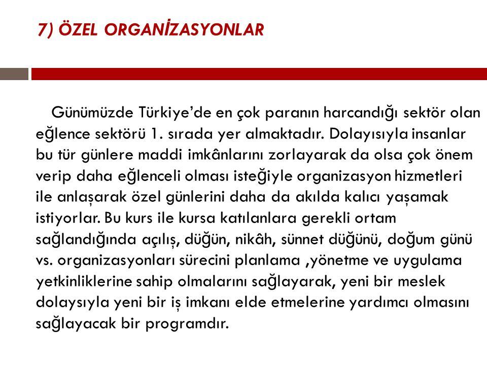 7) ÖZEL ORGAN İ ZASYONLAR Günümüzde Türkiye'de en çok paranın harcandı ğ ı sektör olan e ğ lence sektörü 1. sırada yer almaktadır. Dolayısıyla insanla