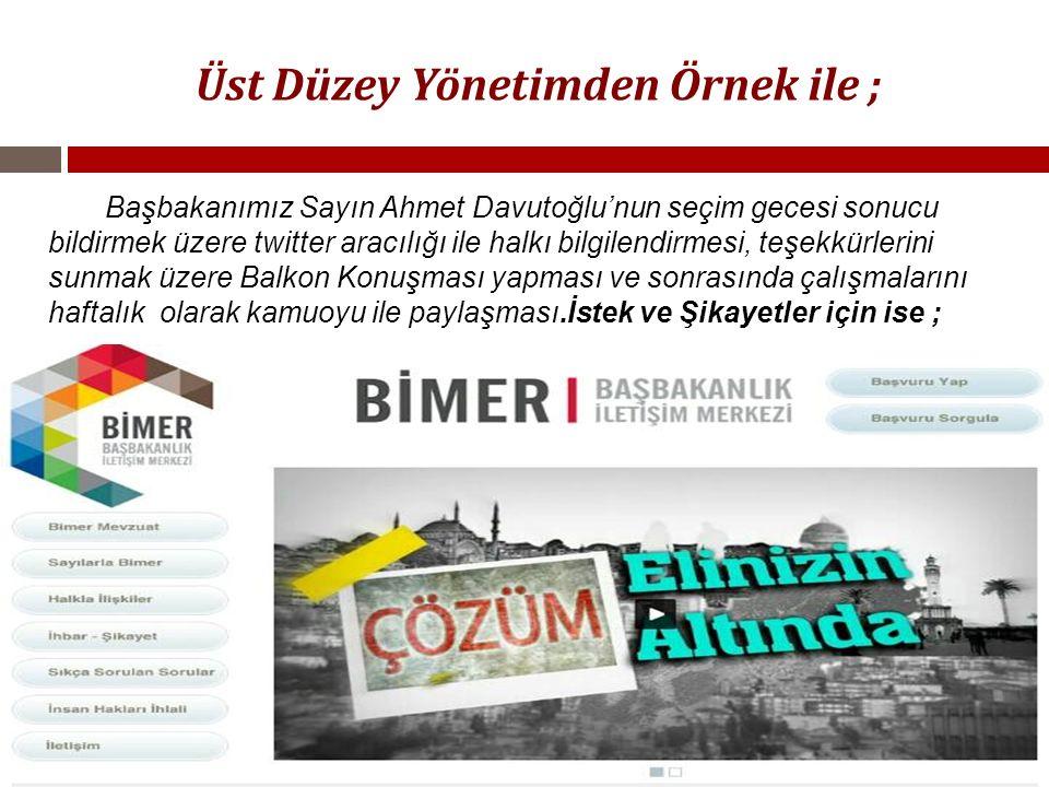 Üst Düzey Yönetimden Örnek ile ; Başbakanımız Sayın Ahmet Davutoğlu'nun seçim gecesi sonucu bildirmek üzere twitter aracılığı ile halkı bilgilendirmes