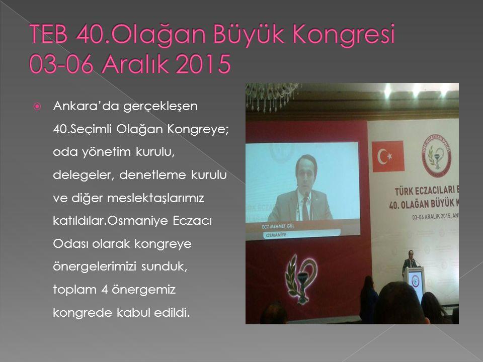 Ankara'da gerçekleşen 40.Seçimli Olağan Kongreye; oda yönetim kurulu, delegeler, denetleme kurulu ve diğer meslektaşlarımız katıldılar.Osmaniye Ecza
