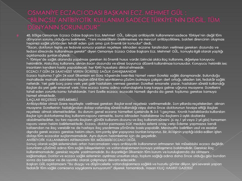  48. Bölge Osmaniye Eczacı Odası Başkanı Ecz. Mehmet GÜL, bilinçsiz antibiyotik kullanımının sadece Türkiye'nin değil tüm dünyanın sorunu olduğunu be