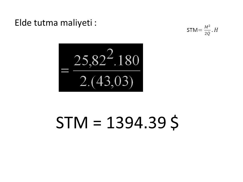 Elde tutma maliyeti : STM = 1394.39 $