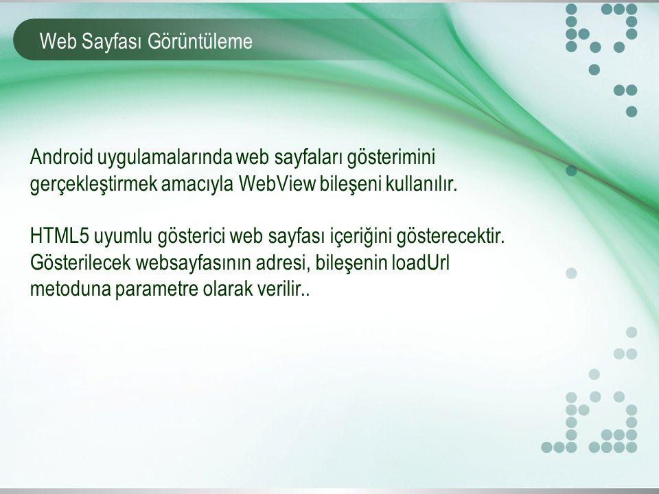 Web Sayfası Görüntüleme Android uygulamalarında web sayfaları gösterimini gerçekleştirmek amacıyla WebView bileşeni kullanılır.