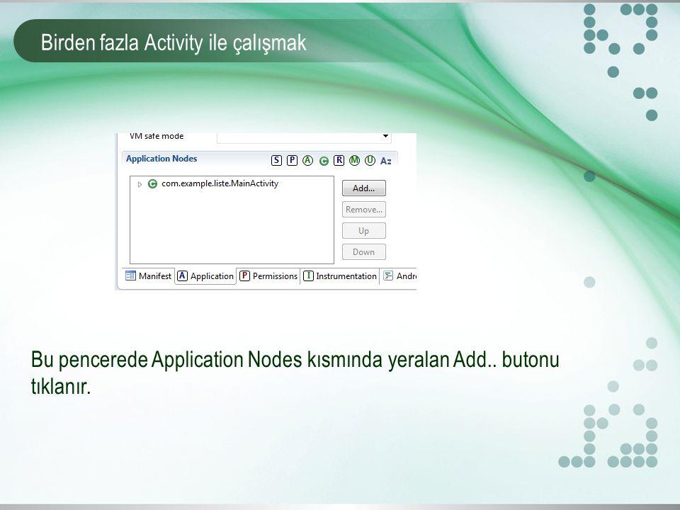 Birden fazla Activity ile çalışmak Bu pencerede Application Nodes kısmında yeralan Add..