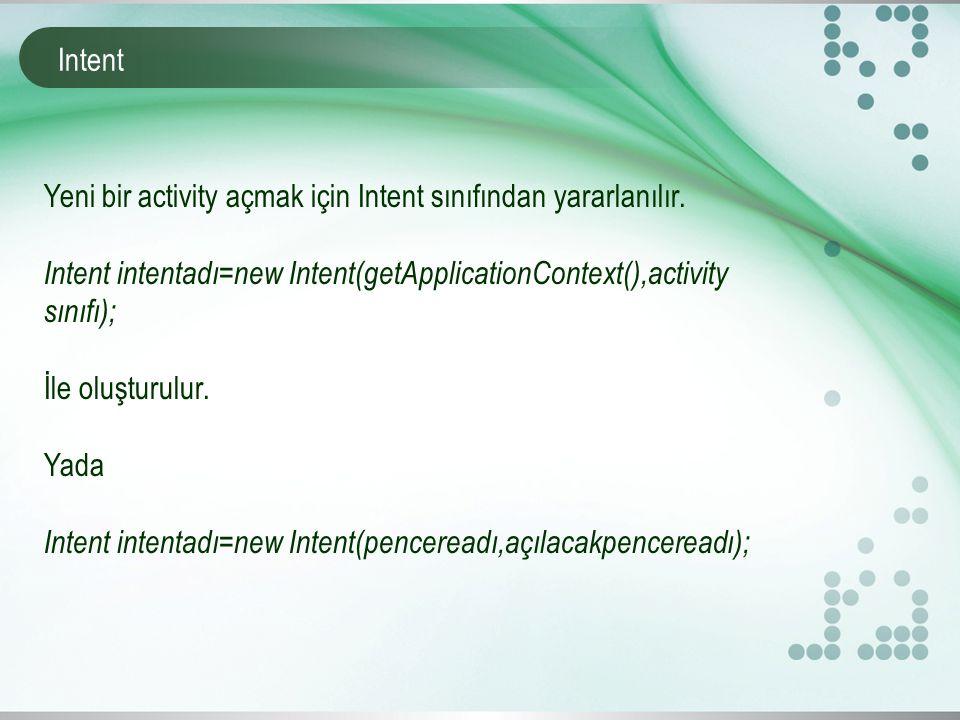 Intent Yeni bir activity açmak için Intent sınıfından yararlanılır.