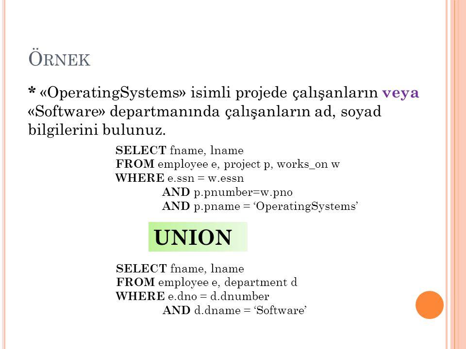 Ö RNEK * «OperatingSystems» isimli projede çalışanların veya «Software» departmanında çalışanların ad, soyad bilgilerini bulunuz.