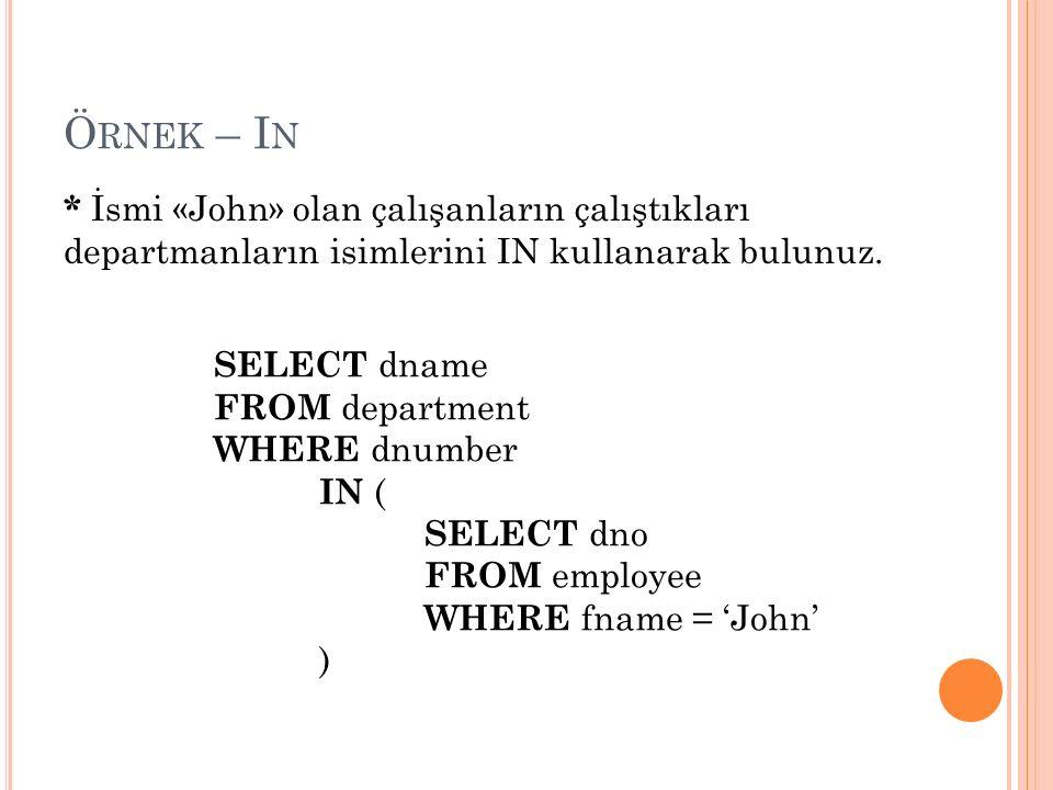Ö RNEK – I N * İsmi «John» olan çalışanların çalıştıkları departmanların isimlerini IN kullanarak bulunuz.
