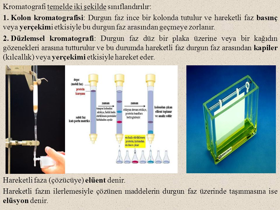 Kromatografi temelde iki şekilde sınıflandırılır: 1. Kolon kromatografisi: Durgun faz ince bir kolonda tutulur ve hareketli faz basınç veya yerçekimi