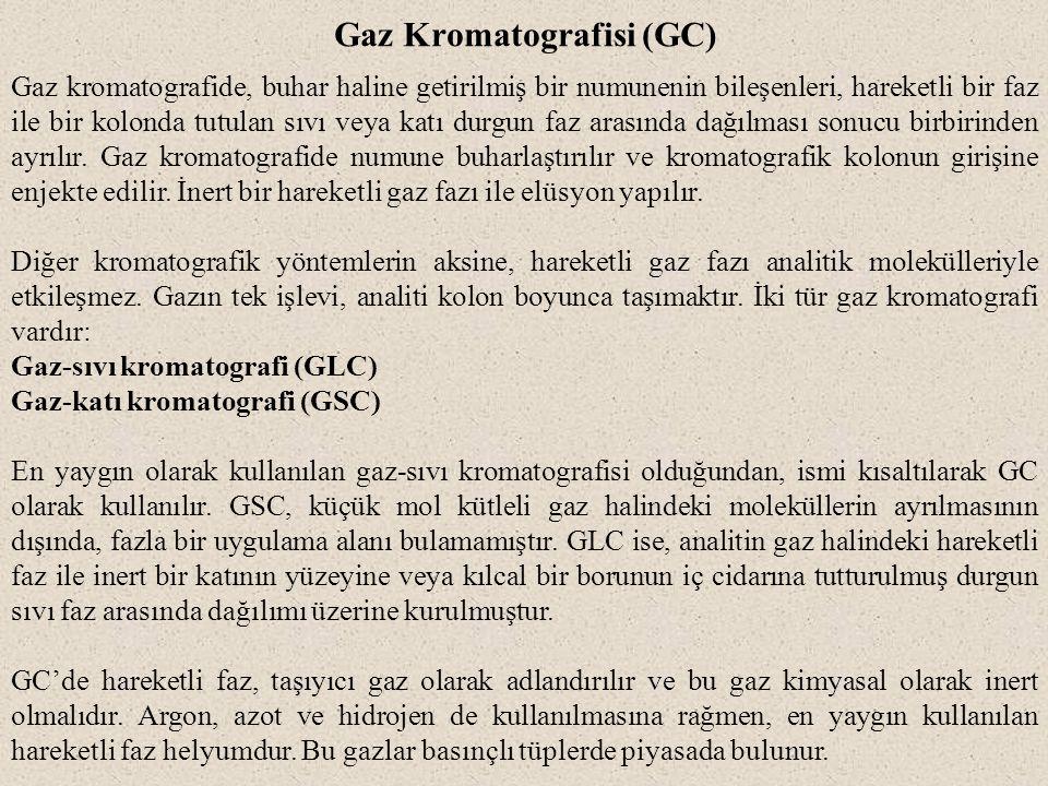 Gaz Kromatografisi (GC) Gaz kromatografide, buhar haline getirilmiş bir numunenin bileşenleri, hareketli bir faz ile bir kolonda tutulan sıvı veya kat
