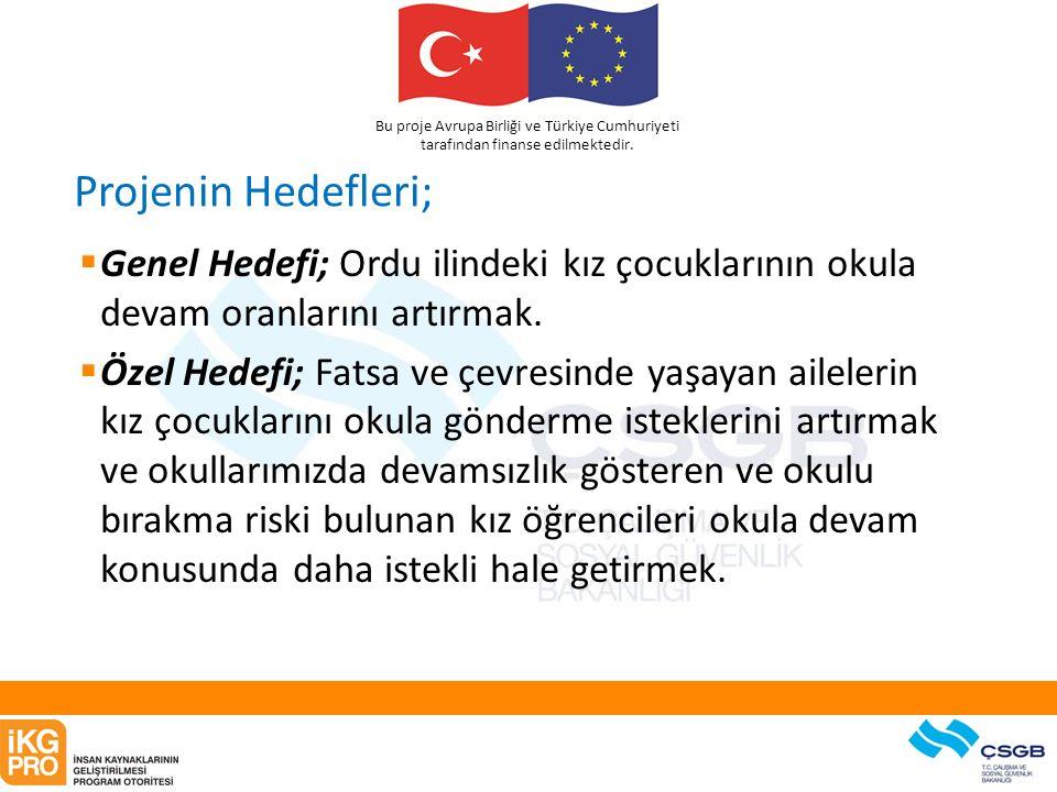 Bu proje Avrupa Birliği ve Türkiye Cumhuriyeti tarafından finanse edilmektedir. Projenin Hedefleri;  Genel Hedefi; Ordu ilindeki kız çocuklarının oku