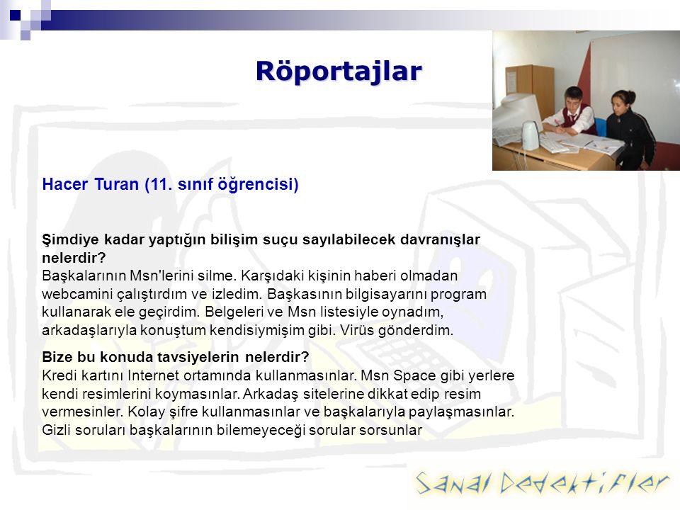 Röportajlar Hacer Turan (11. sınıf öğrencisi) Şimdiye kadar yaptığın bilişim suçu sayılabilecek davranışlar nelerdir? Başkalarının Msn'lerini silme. K