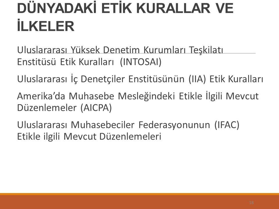 DÜNYADAKİ ETİK KURALLAR VE İLKELER Uluslararası Yüksek Denetim Kurumları Teşkilatı Enstitüsü Etik Kuralları (INTOSAI) Uluslararası İç Denetçiler Enstitüsünün (IIA) Etik Kuralları Amerika'da Muhasebe Mesleğindeki Etikle İlgili Mevcut Düzenlemeler (AICPA) Uluslararası Muhasebeciler Federasyonunun (IFAC) Etikle ilgili Mevcut Düzenlemeleri 18