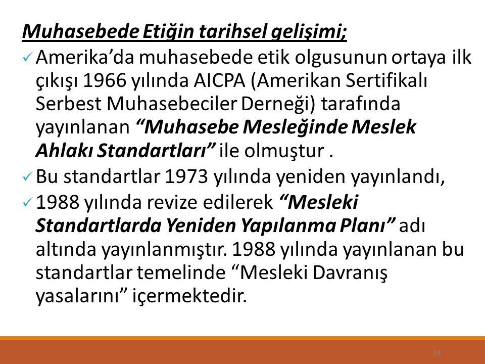 24 Muhasebede Etiğin tarihsel gelişimi; Amerika'da muhasebede etik olgusunun ortaya ilk çıkışı 1966 yılında AICPA (Amerikan Sertifikalı Serbest Muhasebeciler Derneği) tarafında yayınlanan Muhasebe Mesleğinde Meslek Ahlakı Standartları ile olmuştur.