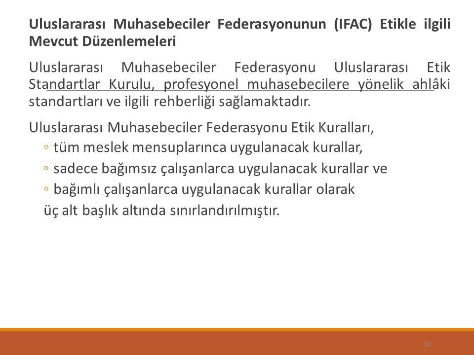 Uluslararası Muhasebeciler Federasyonunun (IFAC) Etikle ilgili Mevcut Düzenlemeleri Uluslararası Muhasebeciler Federasyonu Uluslararası Etik Standartlar Kurulu, profesyonel muhasebecilere yönelik ahlâki standartları ve ilgili rehberliği sağlamaktadır.