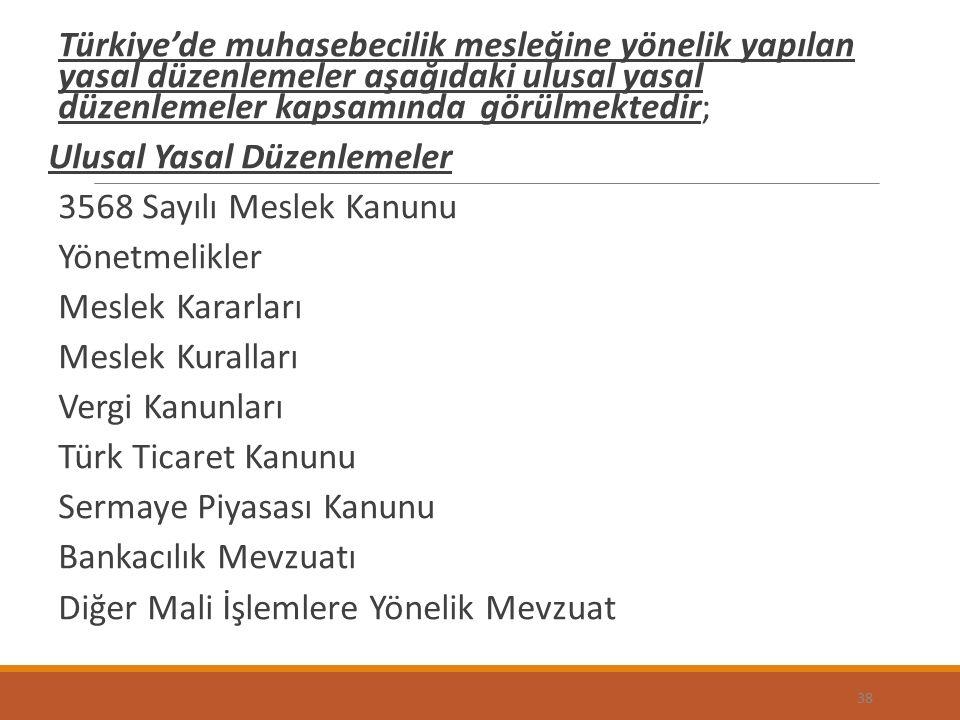 Türkiye'de muhasebecilik mesleğine yönelik yapılan yasal düzenlemeler aşağıdaki ulusal yasal düzenlemeler kapsamında görülmektedir; Ulusal Yasal Düzenlemeler 3568 Sayılı Meslek Kanunu Yönetmelikler Meslek Kararları Meslek Kuralları Vergi Kanunları Türk Ticaret Kanunu Sermaye Piyasası Kanunu Bankacılık Mevzuatı Diğer Mali İşlemlere Yönelik Mevzuat 38
