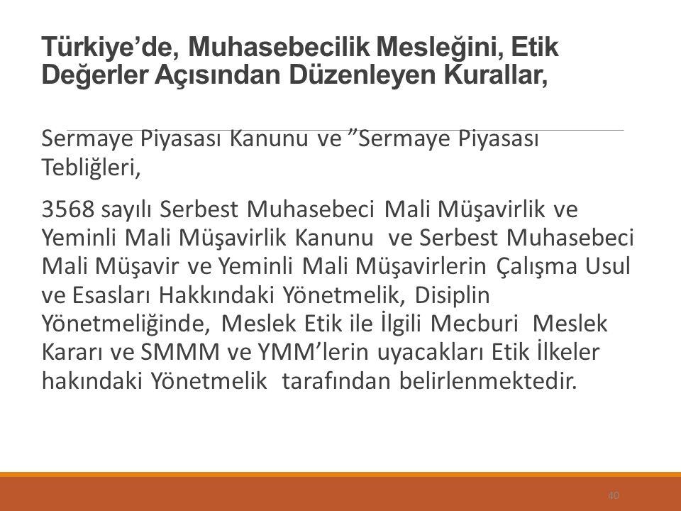 """Türkiye'de, Muhasebecilik Mesleğini, Etik Değerler Açısından Düzenleyen Kurallar, Sermaye Piyasası Kanunu ve """"Sermaye Piyasası Tebliğleri, 3568 sayılı"""