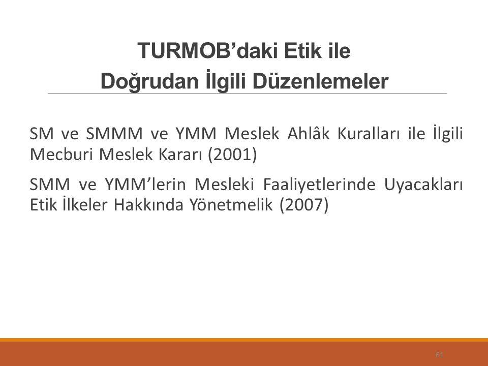 TURMOB'daki Etik ile Doğrudan İlgili Düzenlemeler SM ve SMMM ve YMM Meslek Ahlâk Kuralları ile İlgili Mecburi Meslek Kararı (2001) SMM ve YMM'lerin Mesleki Faaliyetlerinde Uyacakları Etik İlkeler Hakkında Yönetmelik (2007) 61