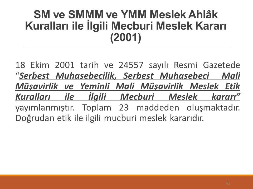 SM ve SMMM ve YMM Meslek Ahlâk Kuralları ile İlgili Mecburi Meslek Kararı (2001) 18 Ekim 2001 tarih ve 24557 sayılı Resmi Gazetede Serbest Muhasebecilik, Serbest Muhasebeci Mali Müşavirlik ve Yeminli Mali Müşavirlik Meslek Etik Kuralları ile İlgili Mecburi Meslek kararı yayımlanmıştır.