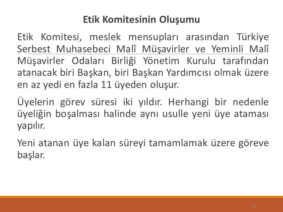 Etik Komitesinin Oluşumu Etik Komitesi, meslek mensupları arasından Türkiye Serbest Muhasebeci Malî Müşavirler ve Yeminli Malî Müşavirler Odaları Birliği Yönetim Kurulu tarafından atanacak biri Başkan, biri Başkan Yardımcısı olmak üzere en az yedi en fazla 11 üyeden oluşur.