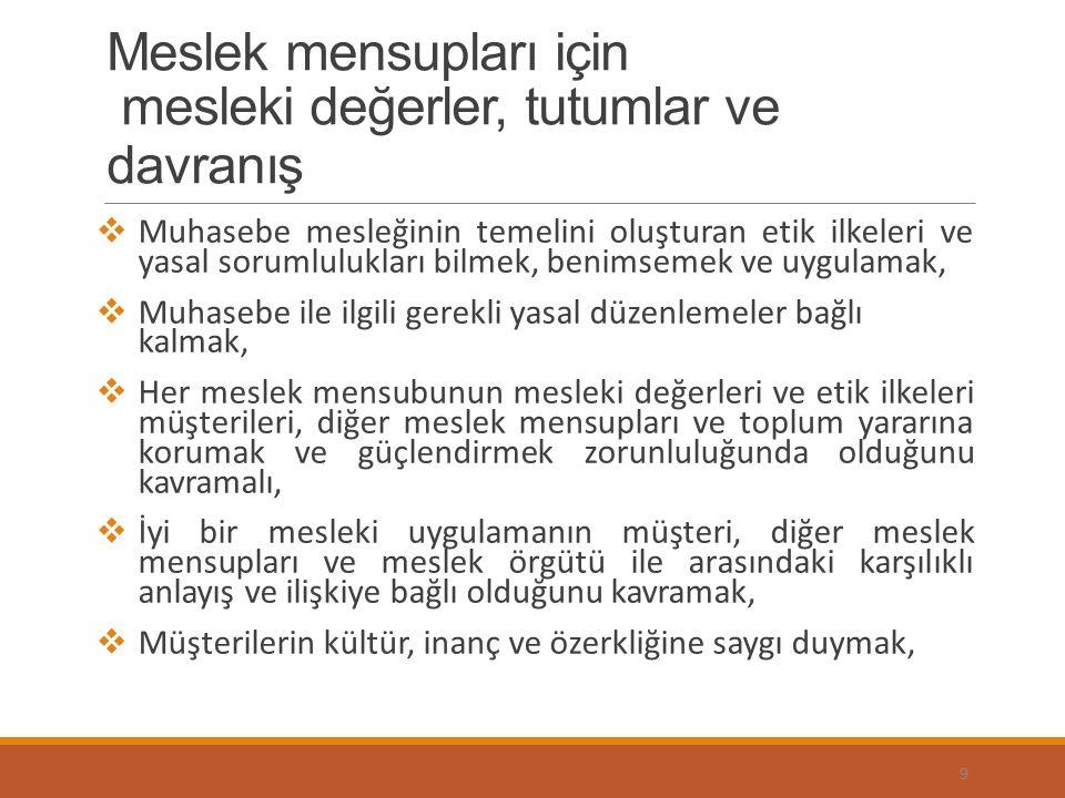 Türkiye'de, Muhasebecilik Mesleğini, Etik Değerler Açısından Düzenleyen Kurallar, Sermaye Piyasası Kanunu ve Sermaye Piyasası Tebliğleri, 3568 sayılı Serbest Muhasebeci Mali Müşavirlik ve Yeminli Mali Müşavirlik Kanunu ve Serbest Muhasebeci Mali Müşavir ve Yeminli Mali Müşavirlerin Çalışma Usul ve Esasları Hakkındaki Yönetmelik, Disiplin Yönetmeliğinde, Meslek Etik ile İlgili Mecburi Meslek Kararı ve SMMM ve YMM'lerin uyacakları Etik İlkeler hakındaki Yönetmelik tarafından belirlenmektedir.